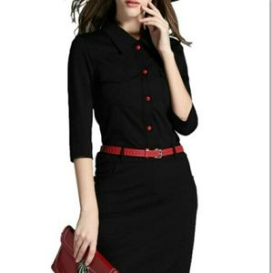 Dresses & Skirts - BLACK MIDI DRESS WITH THE RED BELT